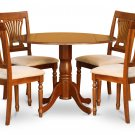 "5PC Dublin 42"" round table, drop leaf +4 Plainville cushion chairs in saddle brown. SKU: DPL5-SBR-C"