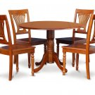 "5PC Dublin 42"" round table, drop leaf +4 Plainville wooden chairs in saddle brown. SKU: DPL5-SBR-W"