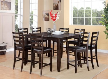 9PC Fairwinds Counter Height Table w/8 Leather Seat Chairs in Cappuccino. SKU: FAIR9-CAP-LC