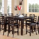 5PC Fairwinds Counter Height Table w/4 Leather Seat Chairs in Cappuccino. SKU: F7-CAP-LC