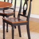 SET OF 2 KENLEY DINETTE DINING CHAIR w/ PLAIN WOOD SEAT, BLACK & CHERRY BROWN, SKU: KC-BLK-W2