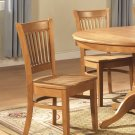 Set of 2 sturdy dinette kitchen dining chair w/ plain wood seat in oak finish, SKU: VC-OAK-W2