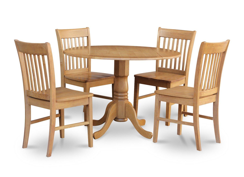 5pc dinette kitchen set round table drop leaf 4 wooden for Round wood kitchen table with leaf