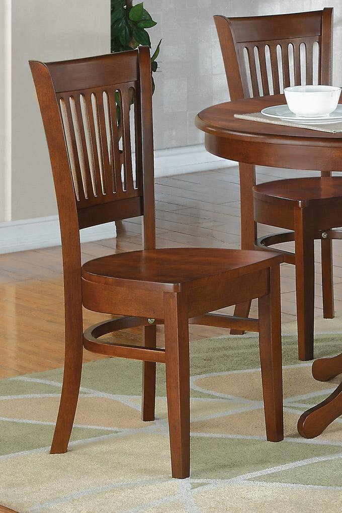 Set of 2 sturdy dinette kitchen dining chairs w plain wood seat in espresso sku vac esp w - Sturdy dining room chairs ...