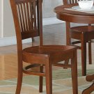 Set of 2 sturdy dinette kitchen dining chairs w/ plain wood seat in Espresso, SKU: VAC-ESP-W