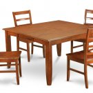 Parfait 5Pc Square Dining Set, Table with 4 wood seat Chairs in Saddle Brown. SKU: PF5-SBR-W
