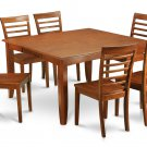 7-PC Parfait Square Dining Set, Table with 6 wood seat Chairs in Saddle Brown. SKU: PF7-SBR-W
