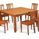 9Pc Square Parfait Dining Table with 8 Avon Wood Seat Chairs in Saddle Brown. SKU: PFAV9-SBR-W