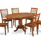 7Pc Oval Portland Dining Table with 6 Milan Wood Seat Chairs in Saddle Brown. SKU: PMI7-SBR-W