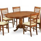 5Pc Oval Portland Dining Table with 4 Milan Padded Chairs in Saddle Brown. SKU: PMI5-SBR-C