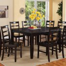 "7PC Square Dining Set, Table 54x54x30"" with 6 Wooden Seat Chairs in Cappuccino. SKU: FL7-CAP-W"