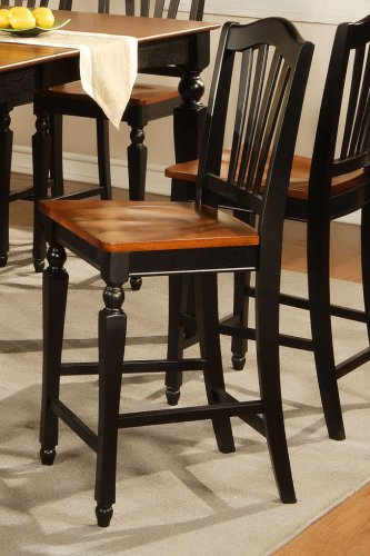 Set of 4 Chelsea counter height chairs w/ wood seat in black & cherry brown, SKU: CC-BLK-W