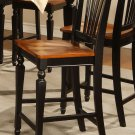 Set of 2 Chelsea counter height chairs w/ wood seat in black & cherry brown, SKU: CC-BLK-W