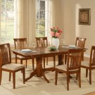7PC Rectangular Dining Table with 6 Portland Upholstery Chairs in Saddle Brown. SKU: NAPO7-SBR-C