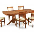 7PC Rectangular Dining Table with 6 Milan Upholstery Chairs in Saddle Brown. SKU: NAMI7-SBR-C