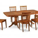 7PC Rectangular Dining Table with 6 Milan Wood Seat Chairs in Saddle Brown. SKU: NAMI7-SBR-W
