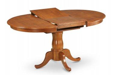 "One Portland 42x60"" Oval Pedestal Kitchen Dining Table No Chair Saddle Brown, SKU: POT-SBR-TP"