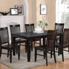 7PC Weston Set Rectangular Dinette Dining Table + 6 Wood Seat Chairs in Black Finish SKU: WT7-BLK-W