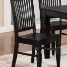 Set of 2 Weston kitchen dining chairs with plain wood seat in black finish, SKU: WC-BLK-W