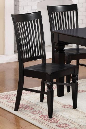 Set of 10 Weston kitchen dining chairs with plain wood seat in black finish, SKU: WC-BLK-W