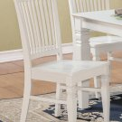 Set of 2 Weston kitchen dining chairs with plain wood seat in linen white finish, SKU: WC-WHI-W