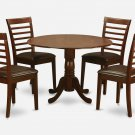 5PC Dublin round table w/ drop leaf +4 Milan leather seat chairs in mahogany. SKU: DMI5-MAH-LC
