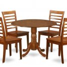 5PC Dublin round table w/ 2 drop leaves +4 Milan wood seat chairs in saddle brown. SKU: DMI5-SBR-W