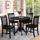 5PC Dublin round table w/2 drop leaves +4 Norfolk wood seat chairs in black. SKU: DLNO5-BLK-W