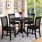 3PC Dublin round table w/2 drop leaves and 2 Norfolk wood seat chairs in black. SKU: DLNO3-BLK-W