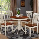 3PC Antique round table &2 Plainville wood seat chairs, Buttermilk & Cherry Brown. SKU: ANPL3-WHI-W
