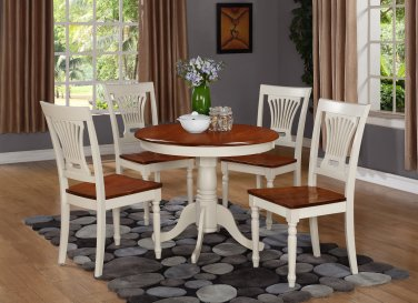 5PC Antique round table &4 Plainville wood seat chairs, Buttermilk & Cherry Brown. SKU: ANPL5-WHI-W