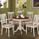 3PC Antique round table & 2 Plainville padded chairs in Buttermilk & Cherry Brown. SKU: ANPL3-WHI-C