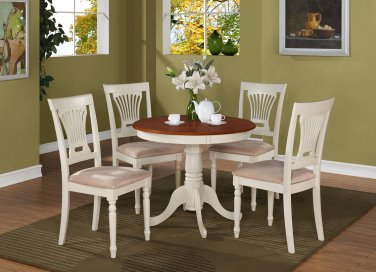 5PC Antique round table & 4 Plainville padded chairs in Buttermilk & Cherry Brown. SKU: ANPL5-WHI-C