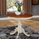 "ANTIQUE ROUND DINETTE KITCHEN TABLE IN BUTTERMILK & CHERRY BROWN 36"" DIAMETER, SKU#: ANT-WHI-T"