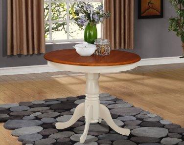 "ANTIQUE ROUND DINETTE KITCHEN TABLE IN BUTTERMILK & CHERRY BROWN 36"" DIAMETER, SKU#: ANT-WHI-T"