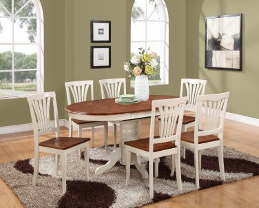7-PC Avon Oval Dining Set table & 6 Chairs in Buttermilk & Cherry Brown. SKU#: AVON7-WHI-W