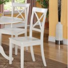 Set of 4 Boston Dinette Dining Chairs w/ Wooden Seat in Linen White Finish, SKU: BC-WHI-W
