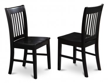 Set of  2 Norfolk dinette kitchen dining chairs with wooden seat in Black finish. SKU: NFC-BLK-W