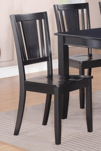 1 Dudley Kitchen Dining Chair with Plain Wood Seat in Black, SKU: DU-BLK-W