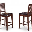 SET OF 2 VERNON COUNTER HEIGHT FAUX LEATHER CHAIRS IN MAHOGANY, SKU# VNS-MAH-LC