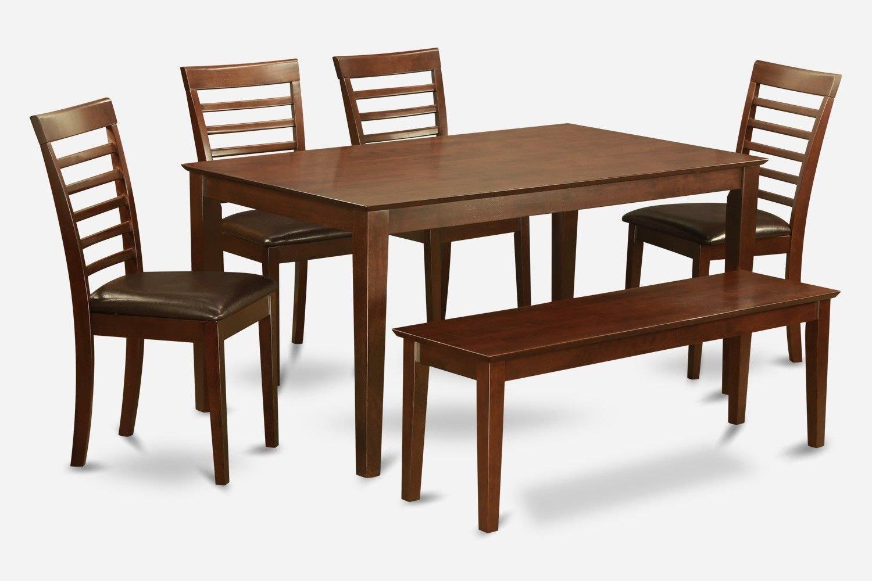 6PC SET CAPRI TABLE w/ 4 MILAN LEATHER CHAIRS & 1 WOOD SEAT BENCH IN MAHOGANY SKU# CAML6C-MAH-LC