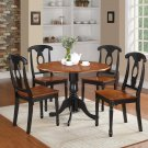 5PC Dublin round table w/2 drop leaves &4 Kenley wood seat chairs in Linen White. SKU: DLKE5-BCH-W