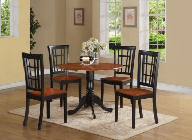 5PC Dublin round table w/2 drop leaves + 4 Nicoli wood seat chairs, Black & Cherry. SKU: DLNI5-BCH-W