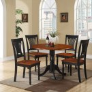 5PC Dublin round table w/2 drop leaves + 4 Plainville chairs, Black & Cherry SKU: DLPL5-BCH-W