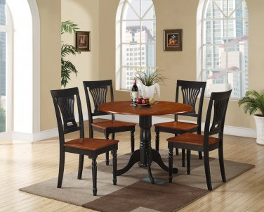 3PC Dublin round table w/2 drop leaves & 2 Plainville chairs, Black & Cherry SKU: DLPL3-BCH-W