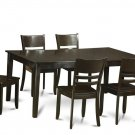 "7PC Henley Dining Table 72x42x30"" with 6 Lynfield Wood Seat Chairs in Cappuccino. SKU: HELY7-CAP-W"