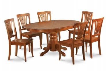 7Pc Oval Avon Dining Table with 6 Wood Seat Chairs in Saddle Brown. SKU: AVON7-SBR-W
