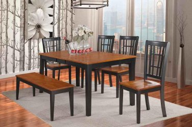 6-PC Nicoli Dining Table with 4 Wood Seat Chairs & 1 Bench in Black & Cherry. SKU#:NICO6-BLK-W