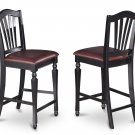 """SET OF 8 CHELSEA COUNTER HEIGHT 24"""" FAUX LEATHER CHAIRS IN BLACK SKU: CC-BLK-LC"""