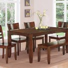 6pc LYNFIELD RECTANGULAR DINING TABLE + 4 PLAIN WOOD SEAT CHAIRS + 1 BENCH ESPRESSO, SKU: LY6-ESP-W